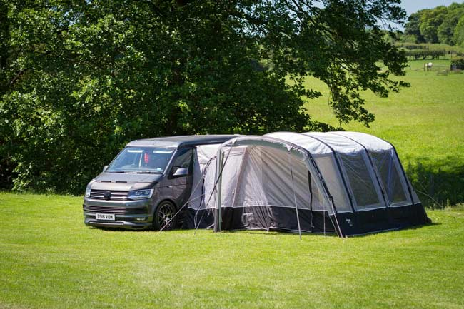 camping camper van and tent extension